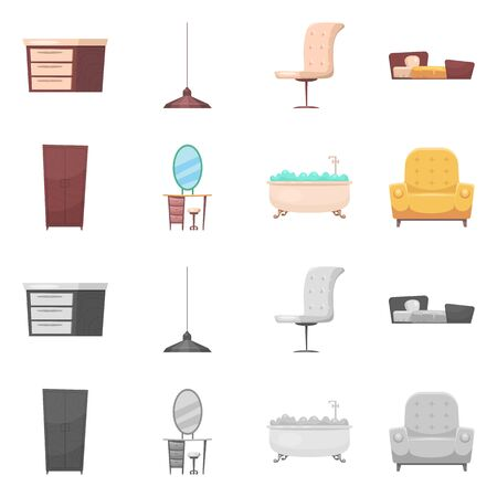 Isolated object of furniture and apartment symbol. Collection of furniture and home bitmap icon for stock.