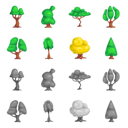 bitmap illustration of tree and nature. Set of tree and crown bitmap icon for stock. Imagens