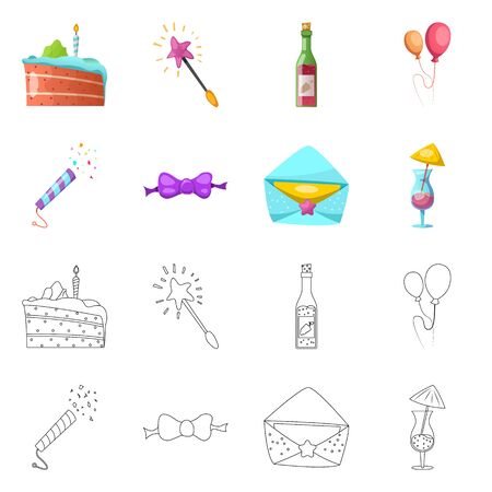 Isolated object of party and birthday. Collection of party and celebration bitmap icon for stock.