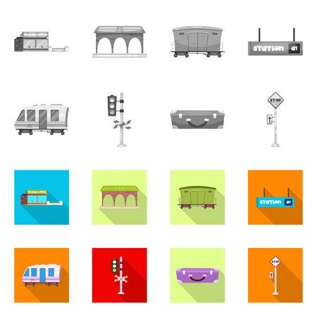 bitmap design of train and station sign. Set of train and ticket stock bitmap illustration. Stock Illustration - 127306583