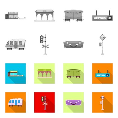 bitmap design of train and station sign. Set of train and ticket stock bitmap illustration.