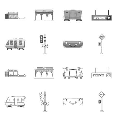 Isolated object of train and station symbol. Collection of train and ticket bitmap icon for stock. Stock Photo