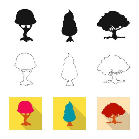 bitmap illustration of tree and nature icon. Set of tree and crown bitmap icon for stock.