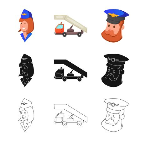 bitmap illustration of airport and airplane. Set of airport and plane bitmap icon for stock. Imagens