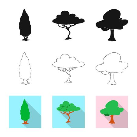 Isolated object of tree and nature sign. Collection of tree and crown stock symbol for web.