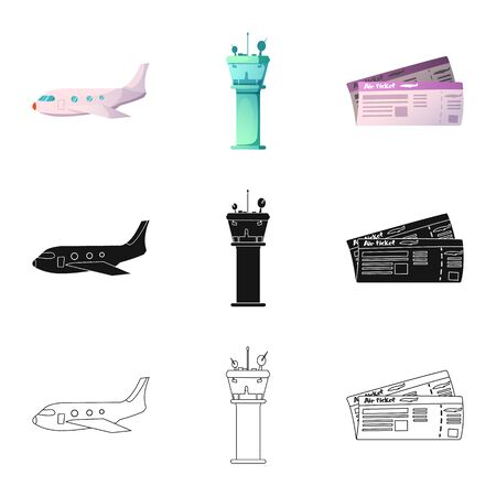 bitmap illustration of airport and airplane icon. Set of airport and plane stock bitmap illustration.