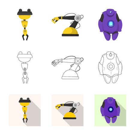 bitmap design of robot and factory icon. Set of robot and space stock bitmap illustration.