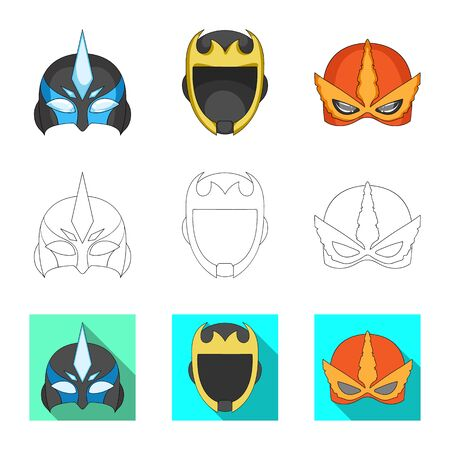 Isolated object of hero and mask icon. Collection of hero and superhero stock bitmap illustration.