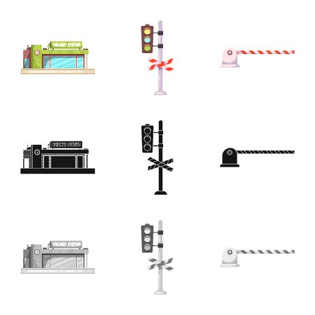 bitmap design of train and station icon. Collection of train and ticket bitmap icon for stock. Banco de Imagens
