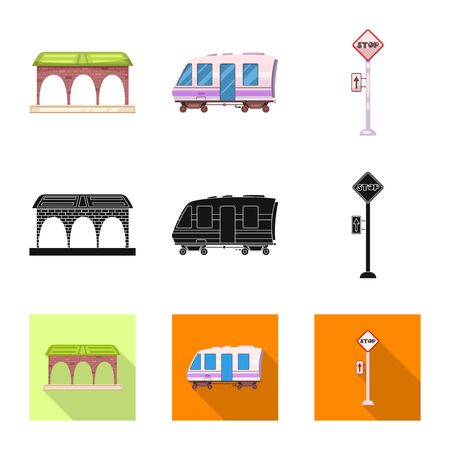 bitmap design of train and station icon. Collection of train and ticket bitmap icon for stock. Stock Photo