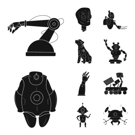 bitmap illustration of robot and factory. Collection of robot and space bitmap icon for stock.