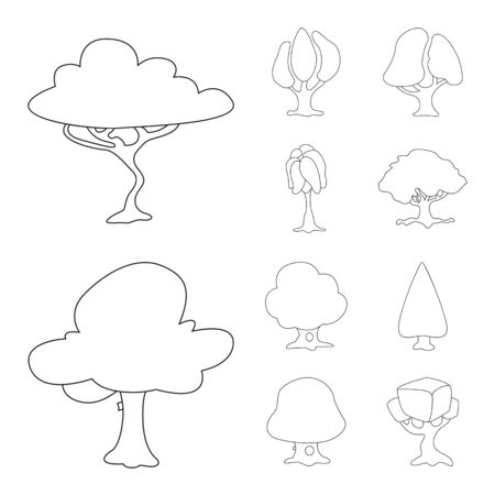 Isolated object of tree and nature symbol. Collection of tree and crown bitmap icon for stock.