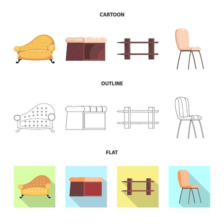 Isolated object of furniture and apartment sign. Set of furniture and home bitmap icon for stock.