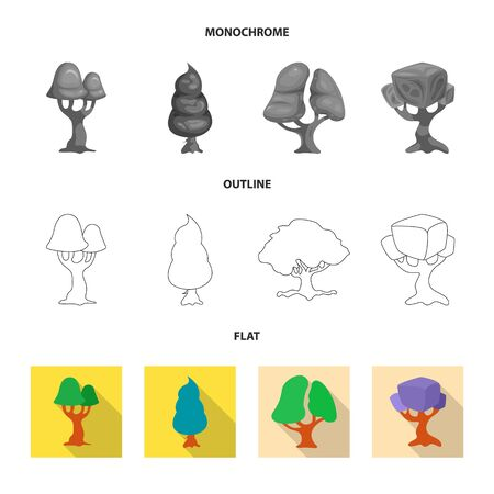 bitmap design of tree and nature icon. Set of tree and crown stock bitmap illustration. Imagens