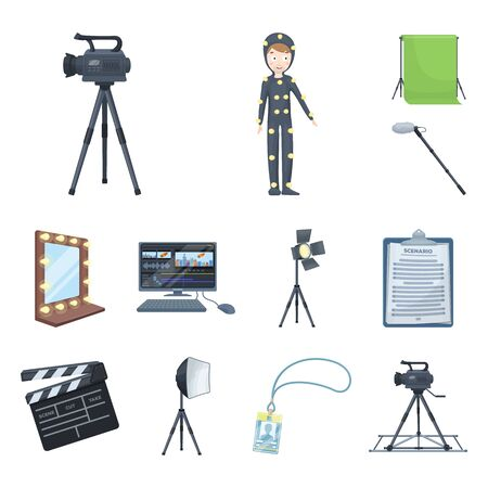 Making a movie cartoon icons in set collection for design. Attributes and Equipment bitmap symbol stock web illustration.