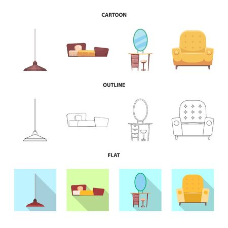 Isolated object of furniture and apartment sign. Set of furniture and home stock symbol for web. Stockfoto