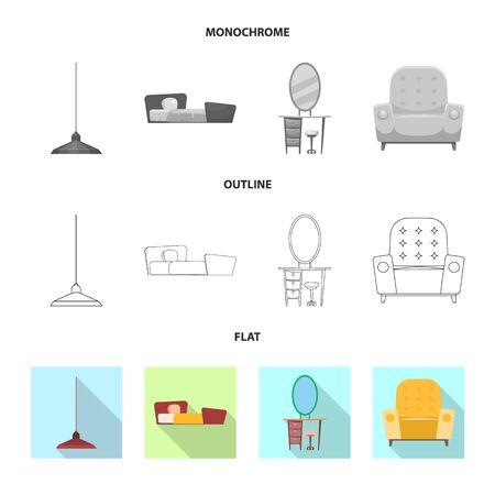 bitmap design of furniture and apartment . Collection of furniture and home stock bitmap illustration.
