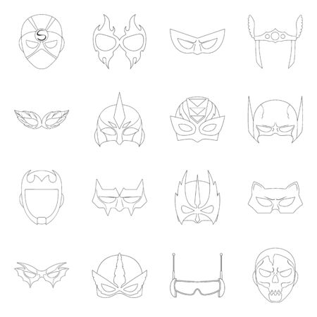 bitmap illustration of hero and mask . Collection of hero and superhero stock symbol for web.