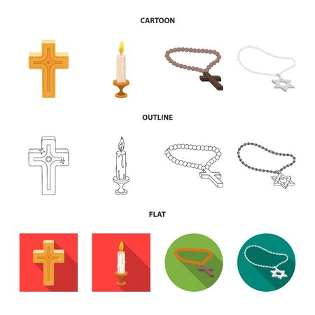 Isolated object of muslim and items sign. Collection of muslim and candle vector icon for stock. Иллюстрация