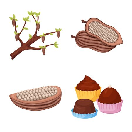 Isolated object of cocoa and beans icon. Set of cocoa and sweetness stock symbol for web. Foto de archivo - 127359105