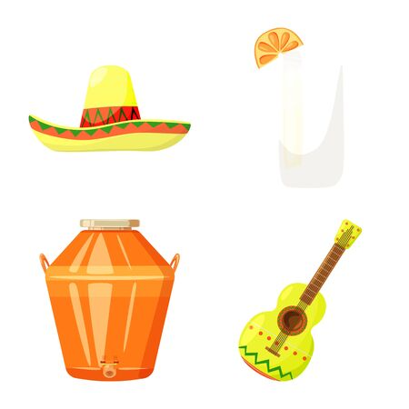 Vector illustration of Mexico and tequila icon. Set of Mexico and fiesta stock symbol for web.