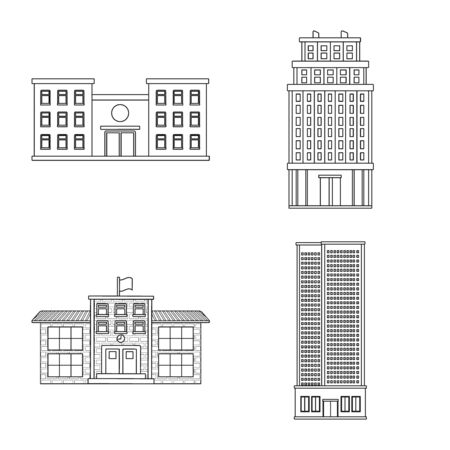 Vector illustration of architecture and exterior symbol. Collection of architecture and city vector icon for stock.