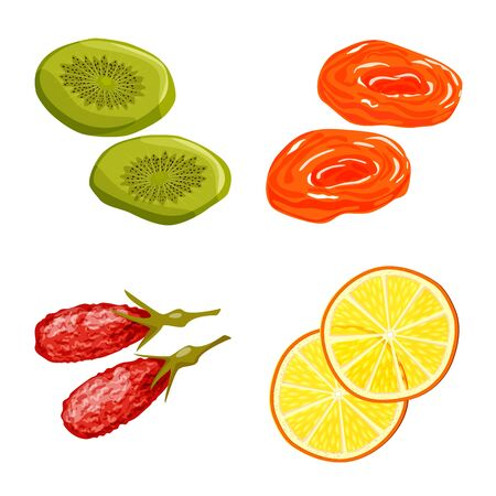 Vector design of fruit and dried icon. Collection of fruit and food vector icon for stock.