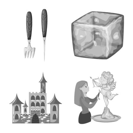 Vector design of square and purity . Collection of square and frozen stock symbol for web.