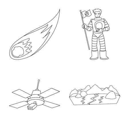 Vector illustration of space and galaxy sign. Set of space and travels stock symbol for web.