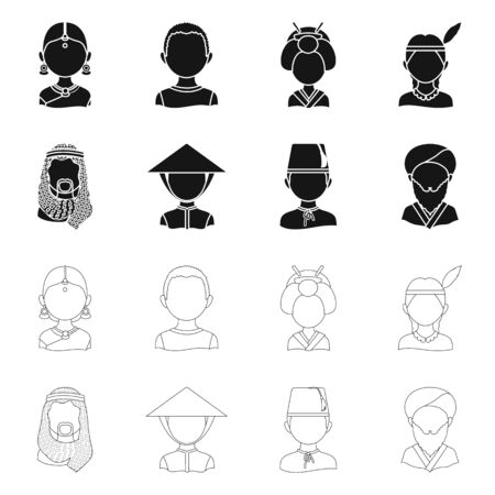 Isolated object of imitator and resident icon. Collection of imitator and culture stock vector illustration.