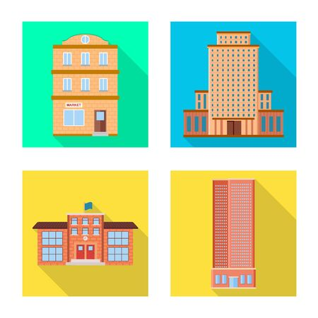 Isolated object of municipal and center . Set of municipal and estate stock vector illustration.