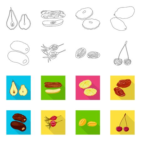 Vector design of food and raw icon. Set of food and nature stock vector illustration.
