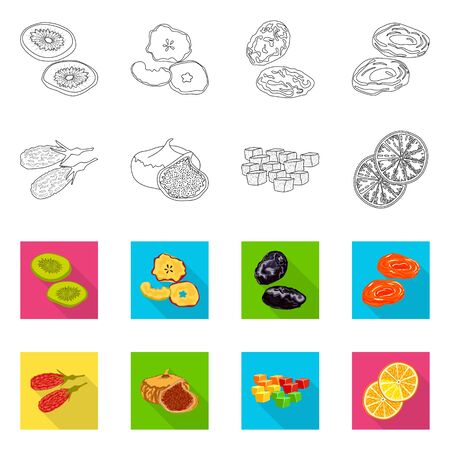Isolated object of food and raw icon. Collection of food and nature stock vector illustration.