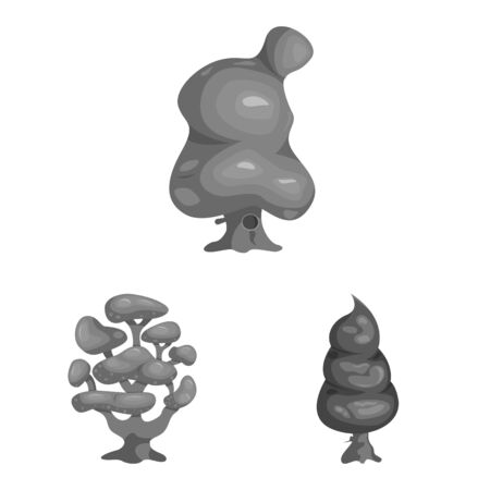 Isolated object of tree and nature. Set of tree and crown bitmap icon for stock.