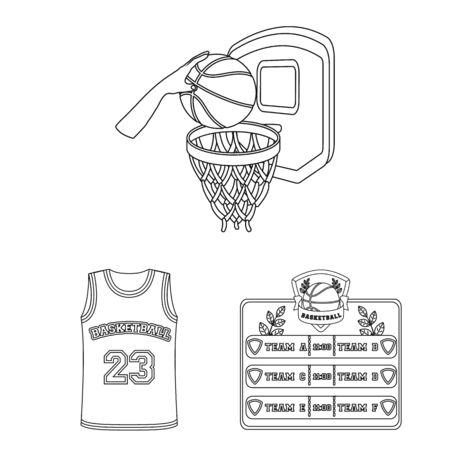 Basketball and attributes outline icons in set collection for design.Basketball player and equipment bitmap symbol stock web illustration.