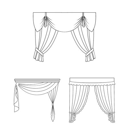 Different kinds of curtains outline icons in set collection for design. Curtains and lambrequins bitmap symbol stock web illustration.