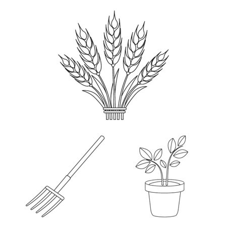 Farm and gardening outline icons in set collection for design. Farm and equipment bitmap symbol stock web illustration.
