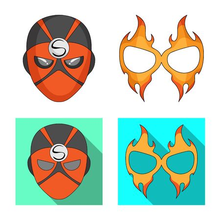 Isolated object of hero and mask icon. Collection of hero and superhero bitmap icon for stock. Stock Photo