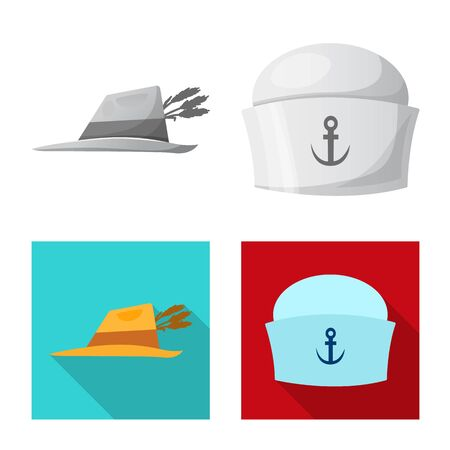 Isolated object of headgear and cap symbol. Collection of headgear and accessory stock bitmap illustration. Stock Photo