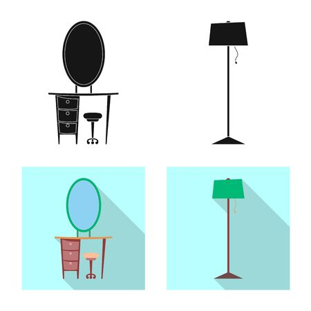 bitmap illustration of furniture and apartment sign. Collection of furniture and home bitmap icon for stock.