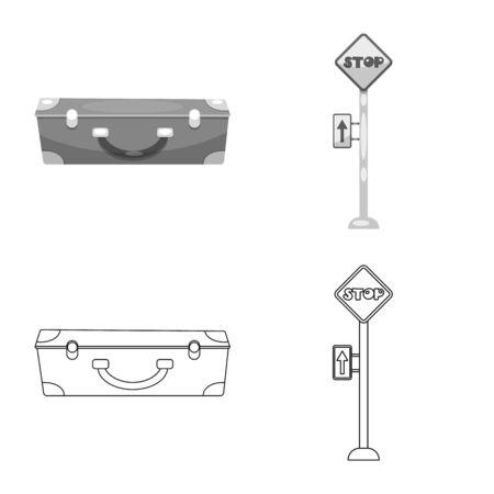 bitmap design of train and station symbol. Collection of train and ticket stock bitmap illustration. 写真素材