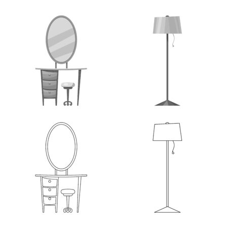 Isolated object of furniture and apartment. Set of furniture and home stock bitmap illustration.