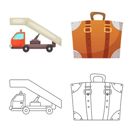 bitmap illustration of airport and airplane. Collection of airport and plane bitmap icon for stock.