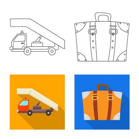 bitmap illustration of airport and airplane symbol. Set of airport and plane bitmap icon for stock.