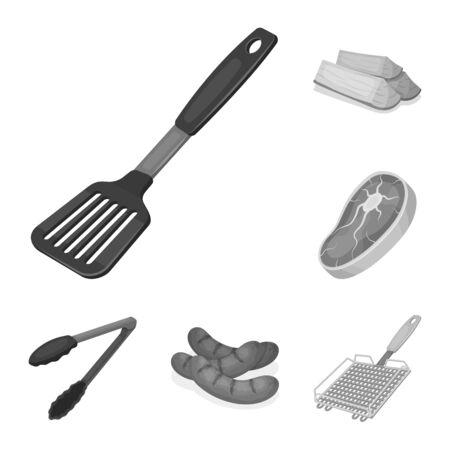 Barbecue and equipment monochrome icons in set collection for design. Picnic and fried food bitmap symbol stock web illustration.