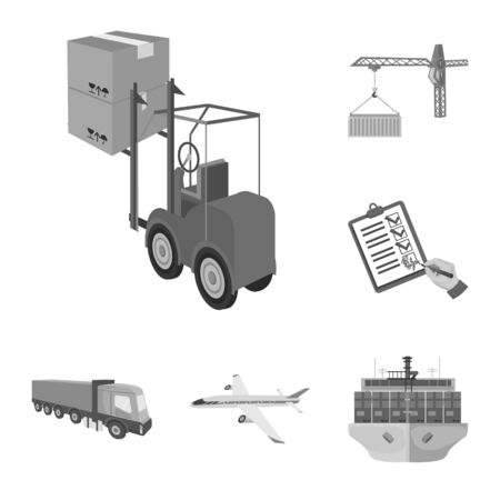 Logistics and delivery monochrome icons in set collection for design. Transport and equipment isometric bitmap symbol stock web illustration. Фото со стока