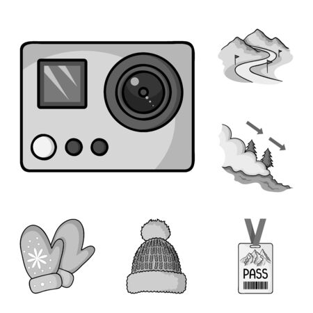 Ski resort and equipment monochrome icons in set collection for design. Entertainment and recreation bitmap symbol stock web illustration. Banco de Imagens