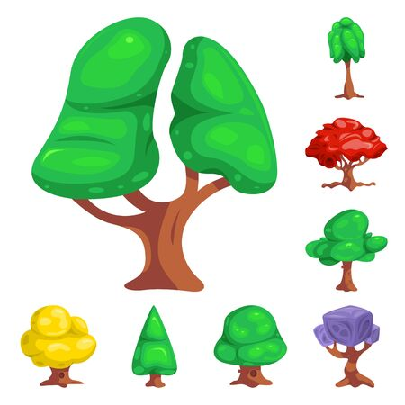 bitmap design of tree and nature icon. Collection of tree and crown stock bitmap illustration.