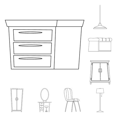 Isolated object of furniture and apartment symbol. Collection of furniture and home stock symbol for web.