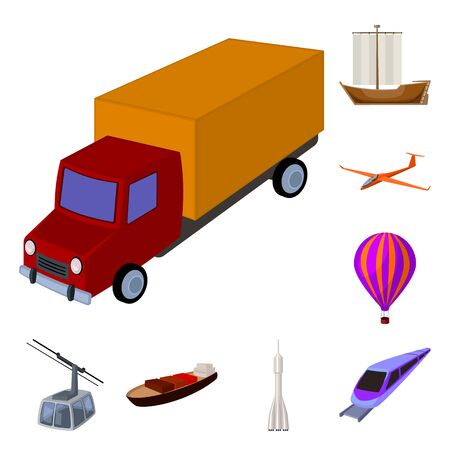 Different types of transport cartoon icons in set collection for design. Car and ship bitmap symbol stock web illustration. 版權商用圖片 - 127477569
